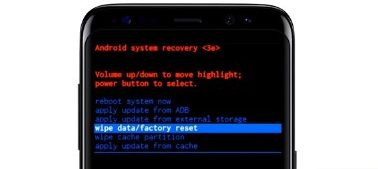 Wype data/factory reset samsung s8