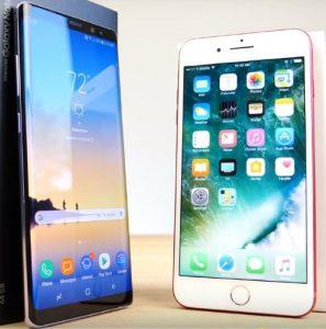 Note 8 в сравнении с iPhone 7 Plus